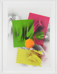 'Self Portrait #3', 2012, spray paint and neon paper on paper, 60x42 cms (unframed)