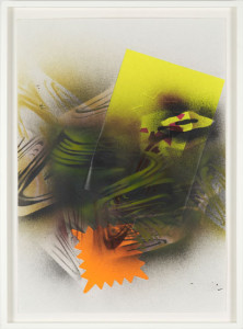 'Self Portrait #6', 2012, spray paint and neon paper on paper, 60 x 42 cms (unframed)