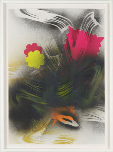 'Self Portrait #4', 2012, spray paint and neon paper on paper, 60x42 cms (unframed)