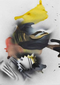 'Dropdown Hover #3', 2014, ink, spray paint on paper, 42x30 cms (unframed)