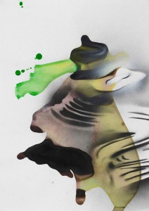 'Dropdown Hover #4', 2014, ink, spray paint on paper, 42x30 cms (unframed)