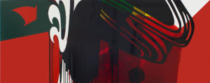 'Hot Steppa', 2011, household paint and tinted floor varnish on MDF, 122 x 305 cm