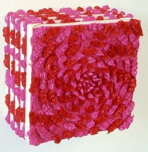 'Untitled (magenta/orange)', 1990, oil paint from cake icer on stacked canvases, 32 x 32 x 22 cms
