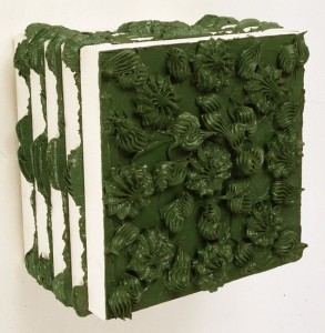 'Untitled (green)', 1991, oil paint from cake icer on stacked canvases, 32 x 32 x 22 cms