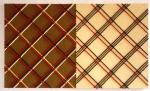 'Untitled (burberry)', 1992, oil paint from paint tubes on canvas (2 panels), 114 x 70 cms